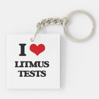 I Love Litmus Tests Square Acrylic Keychains