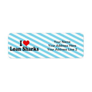 I Love Loan Sharks Return Address Label