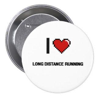 I Love Long Distance Running Digital Retro Design 7.5 Cm Round Badge