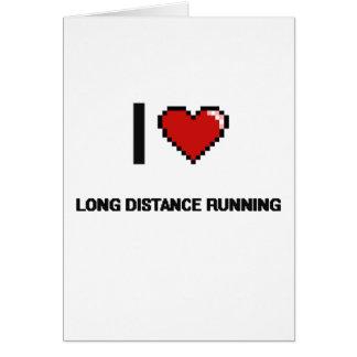 I Love Long Distance Running Digital Retro Design Greeting Card