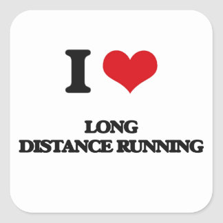 I Love Long Distance Running Square Sticker