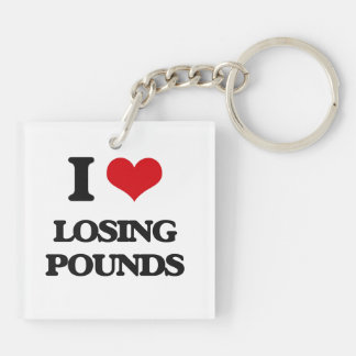 I Love Losing Pounds Square Acrylic Keychain