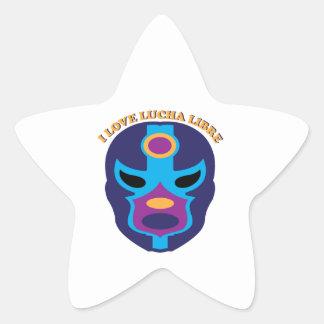 I Love Lucha Libre Star Sticker