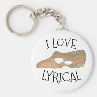 I Love Lyrical Tan Modern Dance Teacher Shoe Key Ring