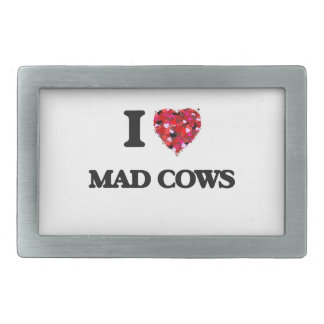 I love Mad Cows Rectangular Belt Buckles