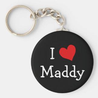 I Love Maddy Basic Round Button Key Ring