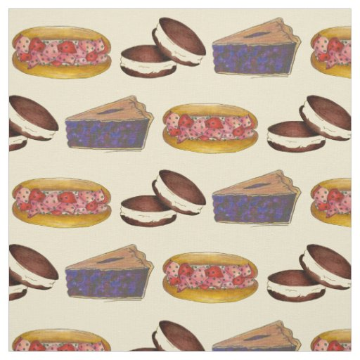 I Love Maine Lobster Whoopie Blueberry Pie Foodie Fabric