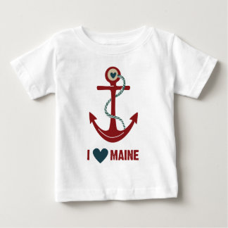 I Love Maine Red Anchor Baby T-Shirt