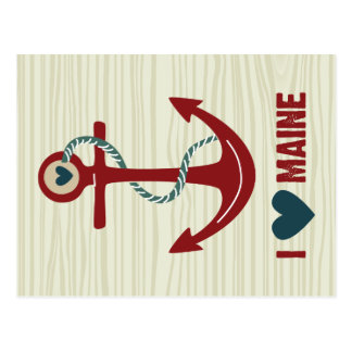 I Love Maine Red Ship Anchor Postcards