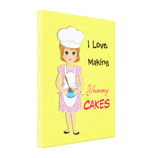 I Love Making Yummy Cakes Cute Picture Stretched Canvas Prints