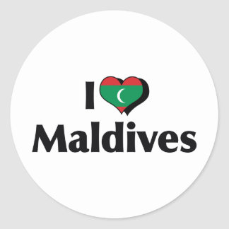 I Love Maldives Flag Classic Round Sticker