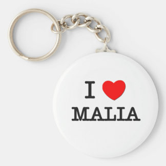 I Love Malia Basic Round Button Key Ring