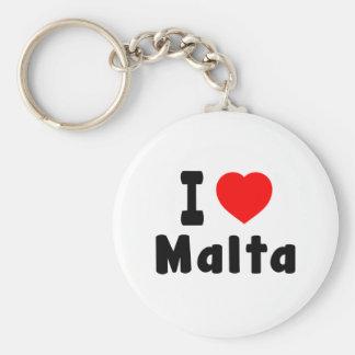 I Love Malta Basic Round Button Key Ring