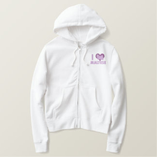 I Love Maltese Embroidered Shirt (Hoodie)