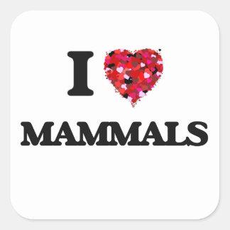 I Love Mammals Square Sticker