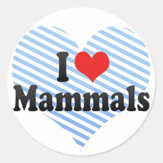 I Love Mammals Round Sticker