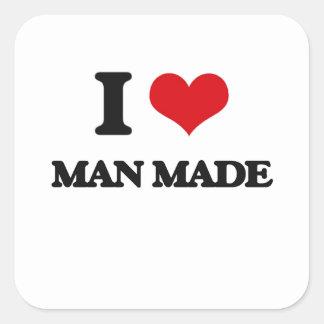 I Love Man Made Square Sticker