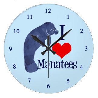 I Love Manatees Large Clock