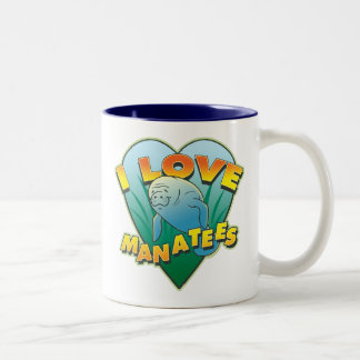 I Love Manatees Two-Tone Mug
