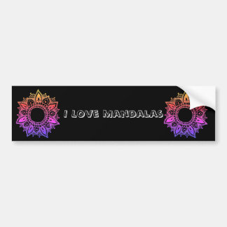 I Love Mandalas Mandala Art Custom Bumper Sticker