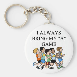 i love marathons basic round button key ring