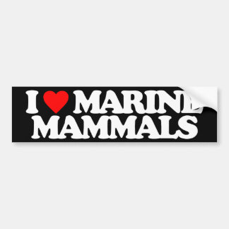 I LOVE MARINE MAMMALS CAR BUMPER STICKER