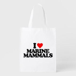 I LOVE MARINE MAMMALS GROCERY BAGS