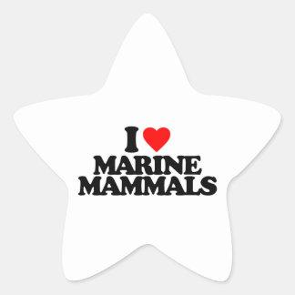 I LOVE MARINE MAMMALS STAR STICKER