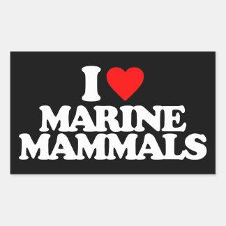 I LOVE MARINE MAMMALS RECTANGLE STICKER