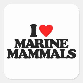 I LOVE MARINE MAMMALS SQUARE STICKER