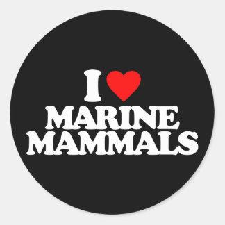 I LOVE MARINE MAMMALS ROUND STICKERS