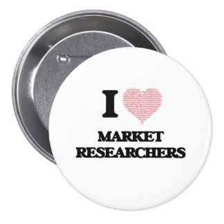 I love Market Researchers (Heart made from words) 7.5 Cm Round Badge
