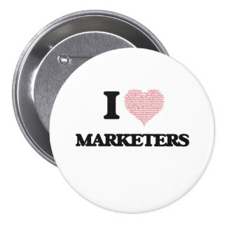 I love Marketers (Heart made from words) 7.5 Cm Round Badge