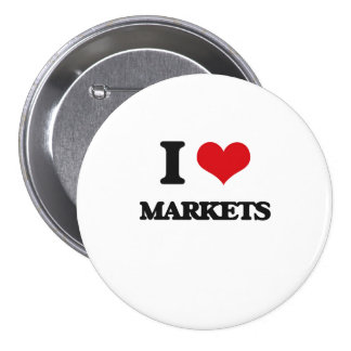 I Love Markets Pinback Buttons