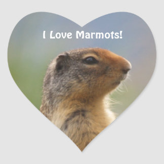I Love Marmots Wildlife Photo Heart Sticker
