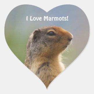 I Love Marmots Wildlife Photo Heart Sticker