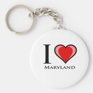 I Love Maryland Basic Round Button Key Ring