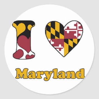I love Maryland Classic Round Sticker