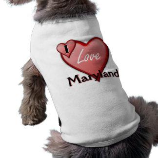 I Love Maryland Sleeveless Dog Shirt