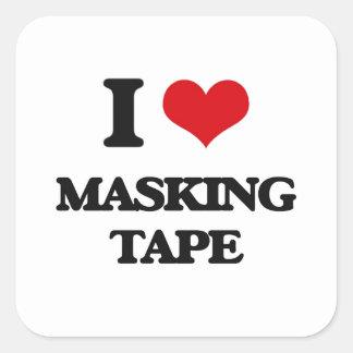 I Love Masking Tape Square Stickers