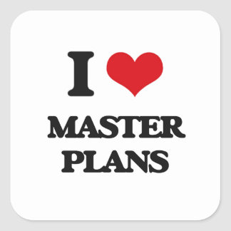 I Love Master Plans Square Stickers
