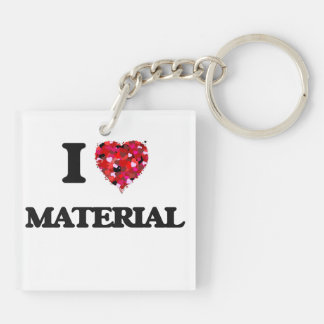 I Love Material Double-Sided Square Acrylic Key Ring
