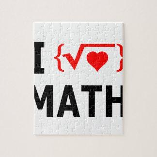 I Love Math White Jigsaw Puzzle