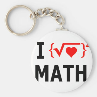 I Love Math White Key Ring
