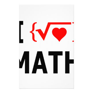 I Love Math White Stationery