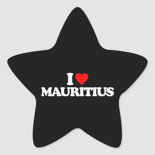 I LOVE MAURITIUS STAR STICKER