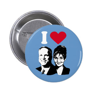 I Love McCain and Palin Button