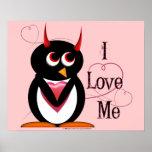 I Love Me! Evil Penguin Poster