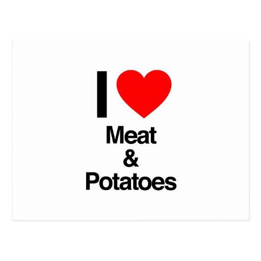 i love meat and potatoes postcard