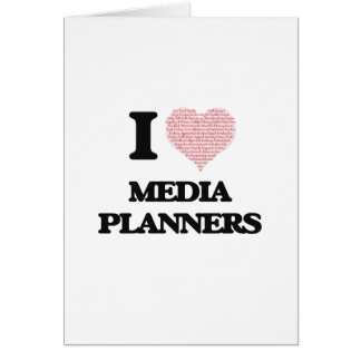I love Media Planners (Heart made from words) Greeting Card